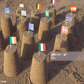 Sand Castles With Tooth Pick Flags Of The European Union Photography ,
