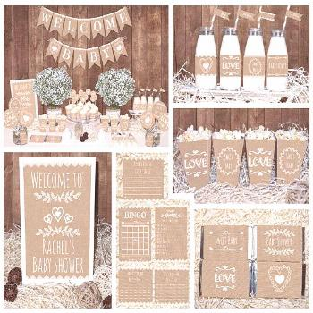 Save OVER 50% with the Baby Shower Mega Set! This adorable printable Rustic Neutral Baby Shower MEG