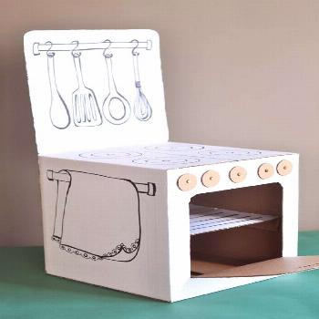 """Small houses, castles and cardboard games, many """"25 DIY ideas"""" -  Cardboard box into play kitch"""