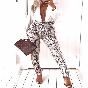Snakeskin Print Patchwork Casual Pant Style:Fashion Pattern Type:Print Material:Polyester Length:Re