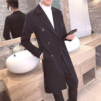 Spring Trench Coat Mens Double-breasted Windbreak Coat Slim Dust coat Male Turn-down Collar New Fas