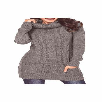 Sweater Cute Casual Womens Turtleneck Long Sleeve Elasticity Chunky Cable Knit Sweater Cute Casual