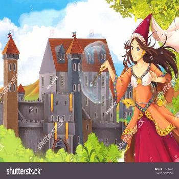 The princesses - castles - knights and fairies - Beautiful Manga Girl - illustration for the childr
