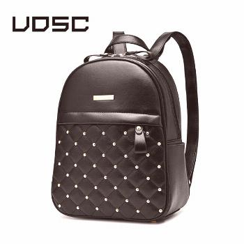 UOSC Women Small  Leather Backpack Rivet Bagpack Daily Cute Black Backpack for Teenager Girls Schoo