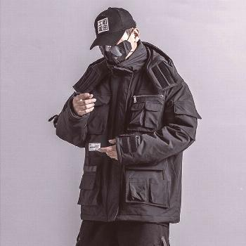 US Size Mens Winter Jackets Coat Streetwear Casual Cargo Parkas Tactics Function Hoody Coat Multi-p