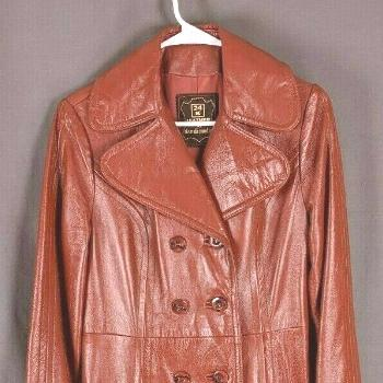 VTG 24K Leather Dan Di Modes Deep  Red Leather 1960 Trench Princess Coat Size 8