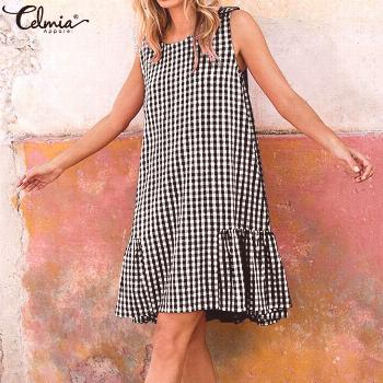 Women Vintage Plaid Summer Dress 2020 Celmia Ladies Casual O-neck Sleeveless Beach Sundress Loose P