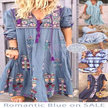 Womens casual maxi dress now 50% OFF.| Soft Blue collection.| Daily must-have.| SHOP NOW! Womens ca