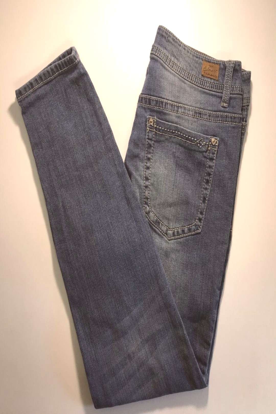 Almost Famous Womens Jeans 10 Blue Skinny Slim Distress Destroyed Mid Rise