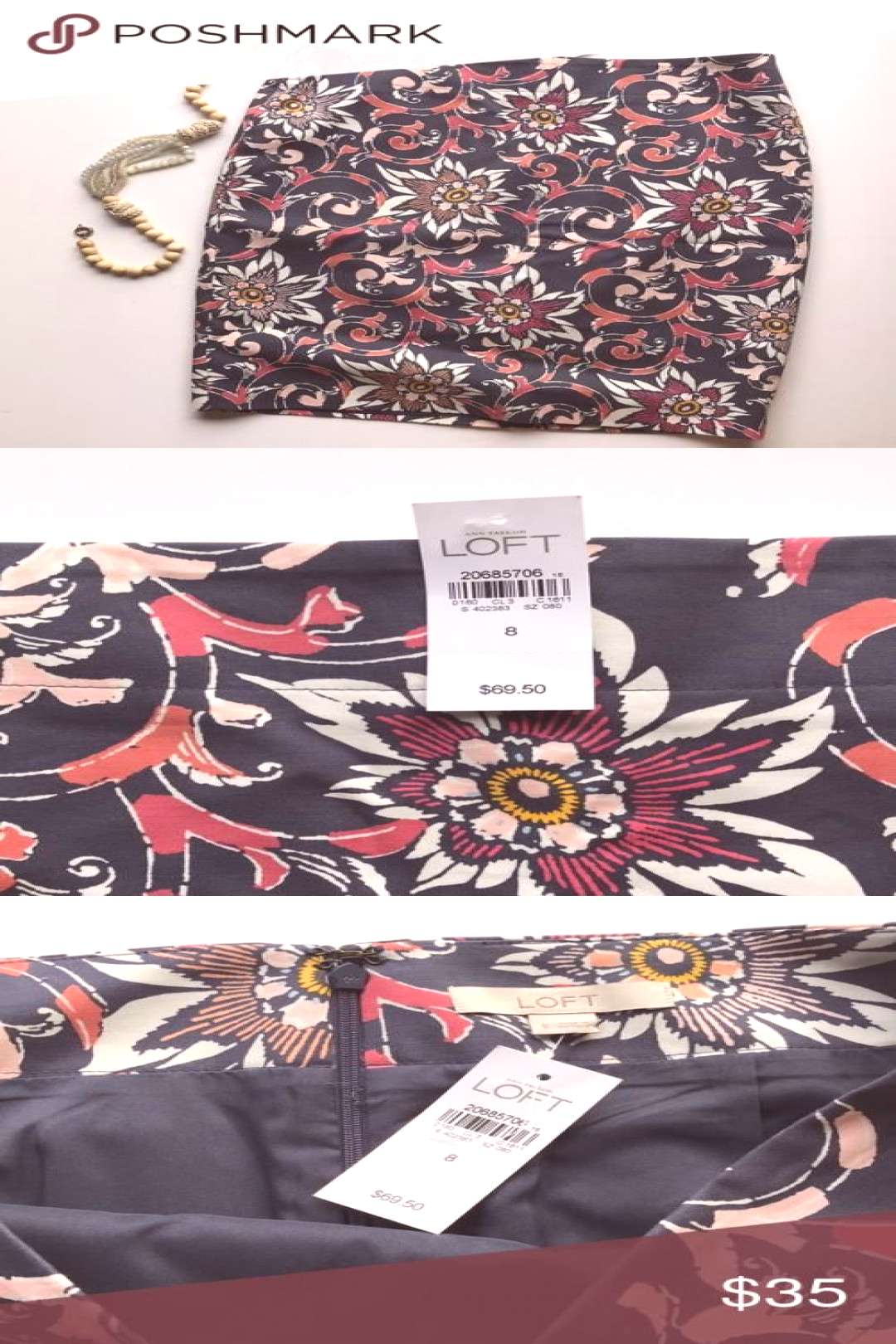 Ann Taylor LOFT Floral Pencil Skirt NWT pencil skirt with soft coral pink marigold and cream print