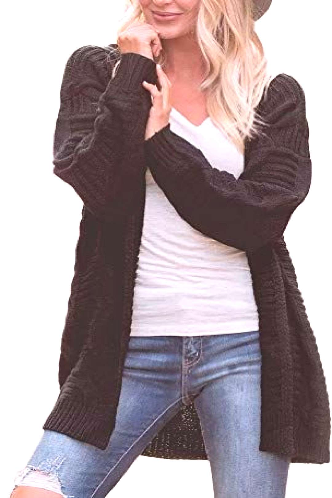Best seller QBSM women casual long sleeve cardigan with open front pullover loose outwear coa...