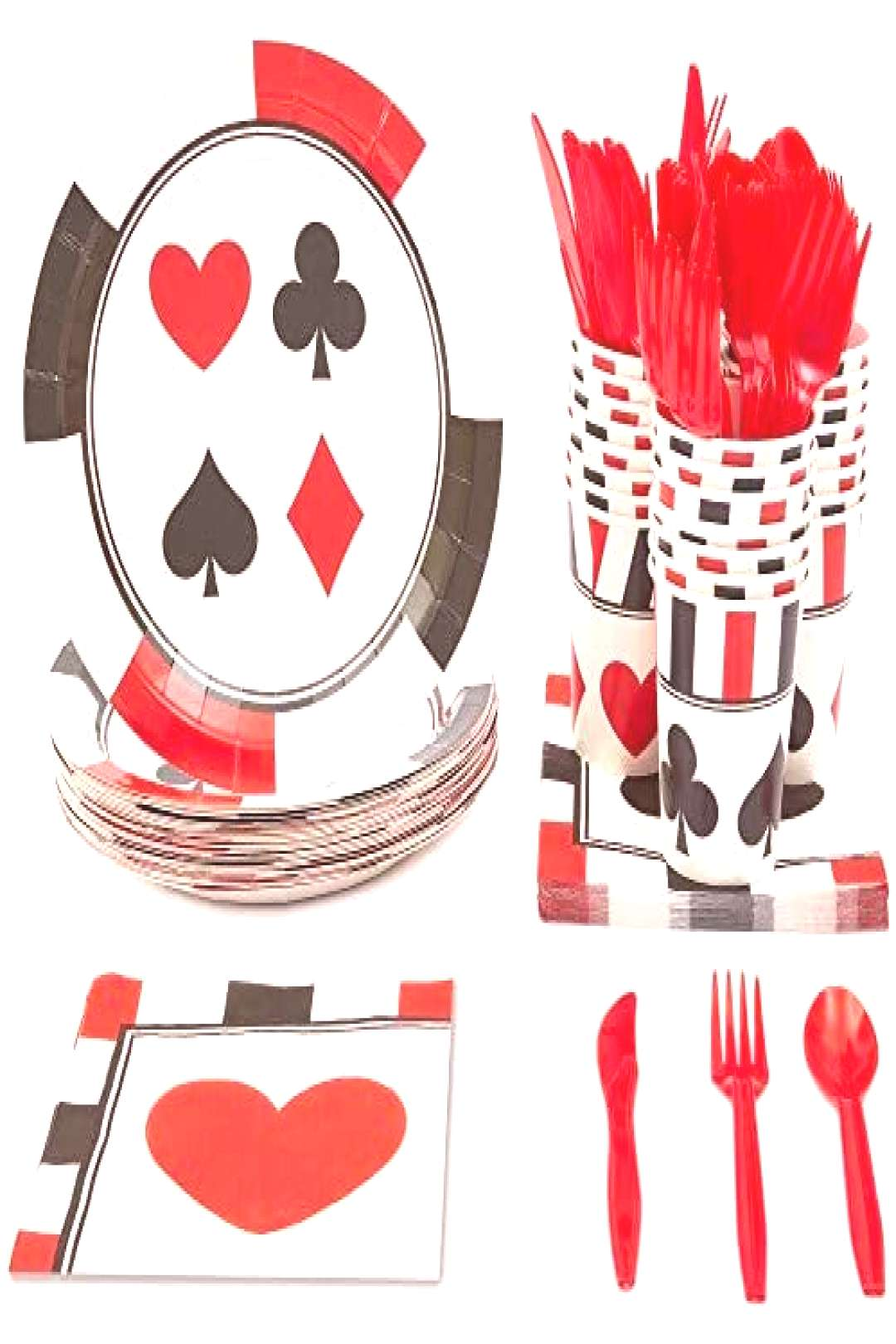Blue Panda Casino Party Supplies - Serves 24 - Plates, Knives, Spoons, Forks, Cups and Napkins