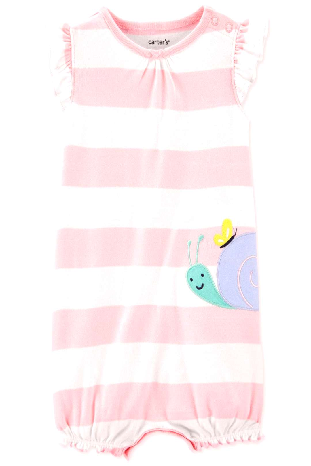 Carter's Baby Girls Striped Snail Cotton Romper - Pink