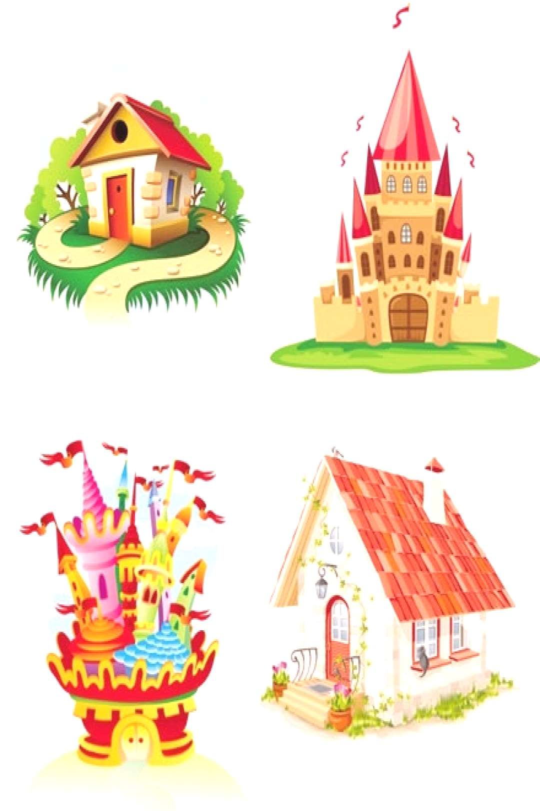 Castles houses icons colorful cartoon sketch Free vector in Encapsulated PostScript eps ( .eps ) ve