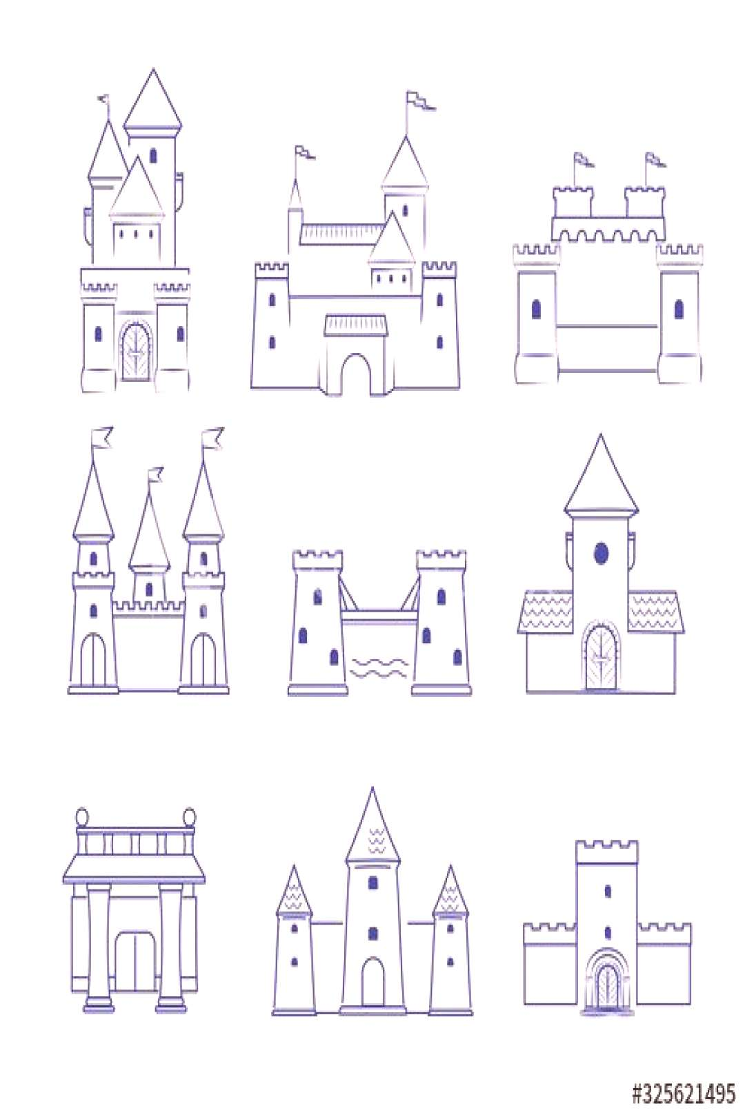 Castles. Medieval old buildings ancient old tower architecture vector line drawn pictures collectio