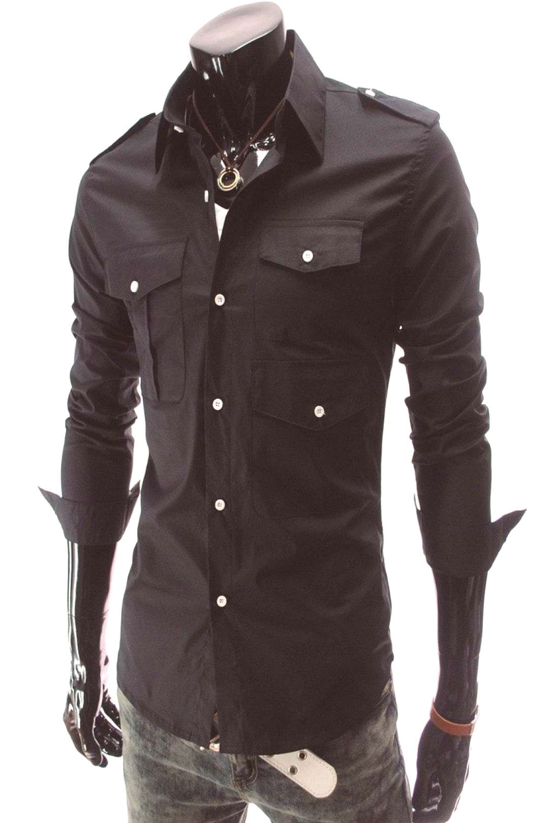Casual Long Sleeve Solid Dress Shirts -