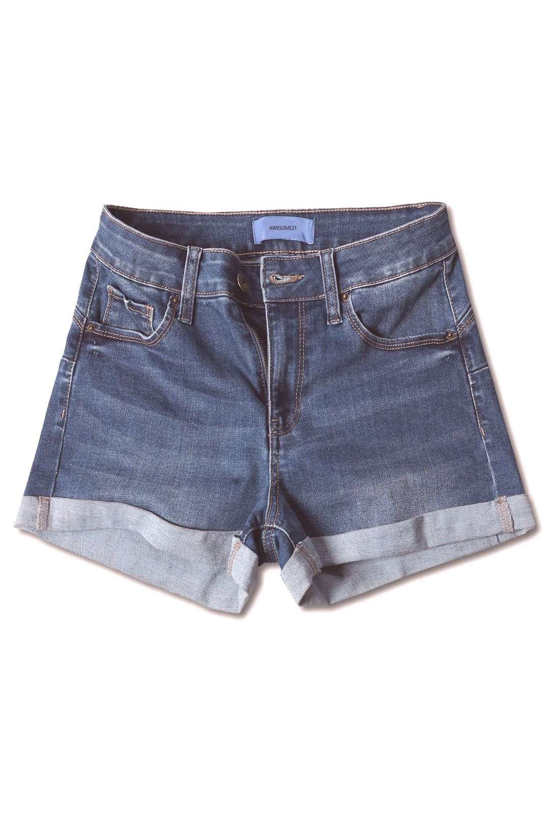 FashionOutfit Womens Casual Push-up Roll-up Cuff High-rise Denim Shorts
