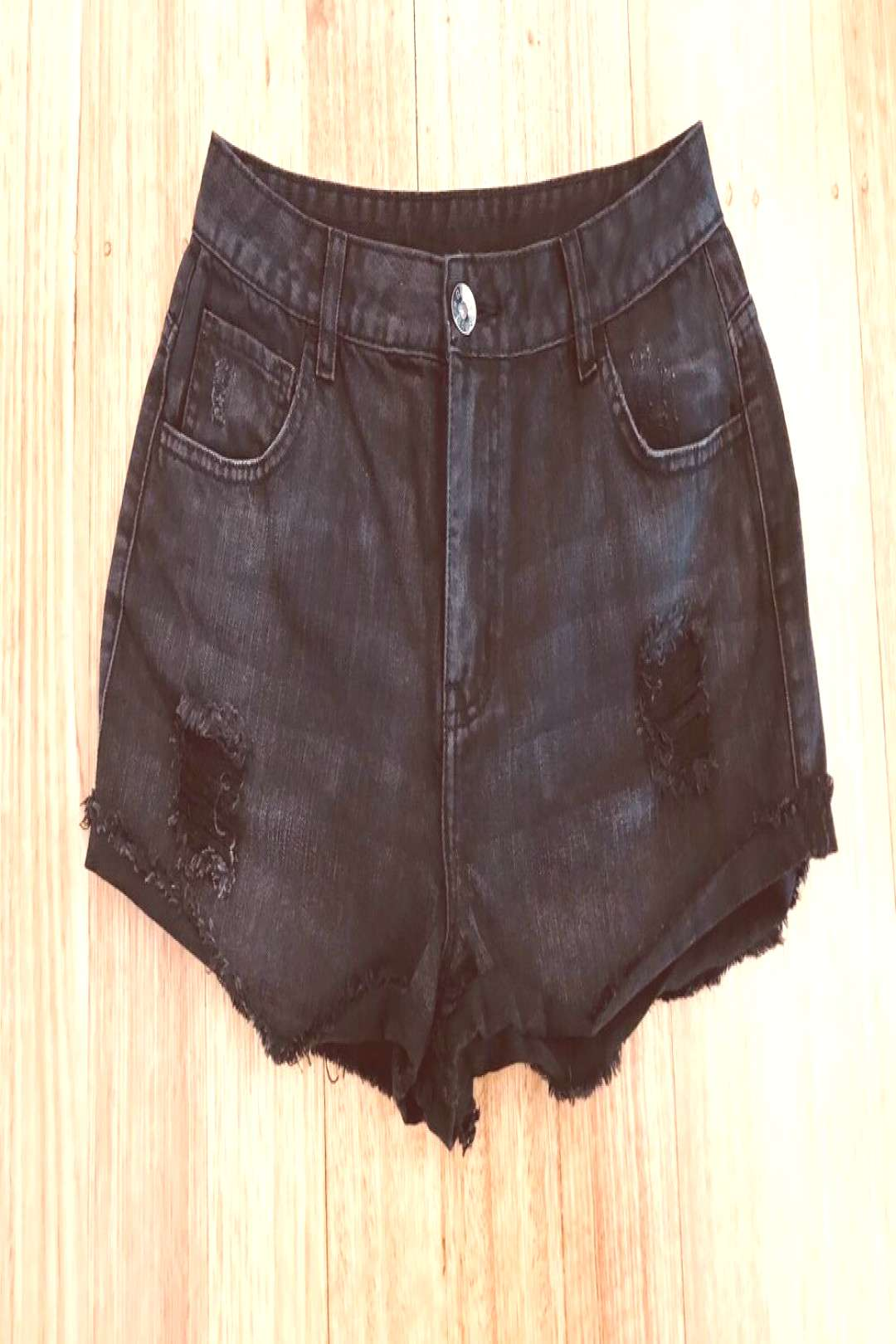 Girl Express-High Rise-Ripped Denim Shorts-Size 14