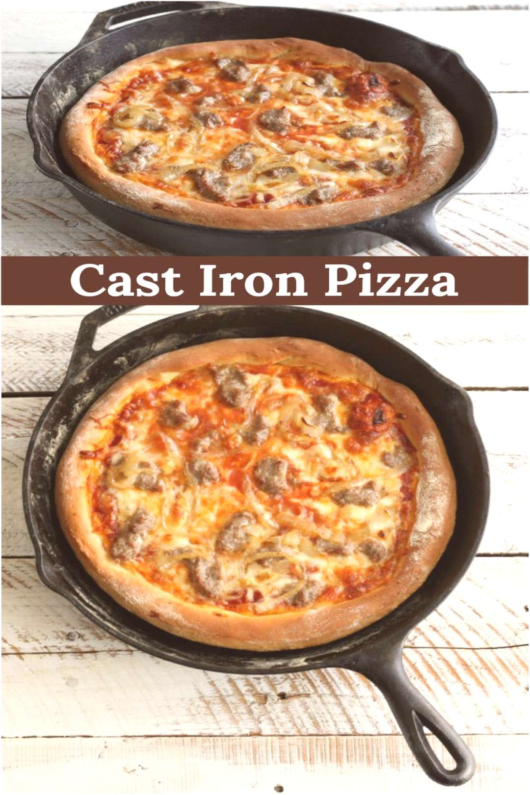 Homemade buttery, thick and chewy pizza dough baked in a cast iron skillet.