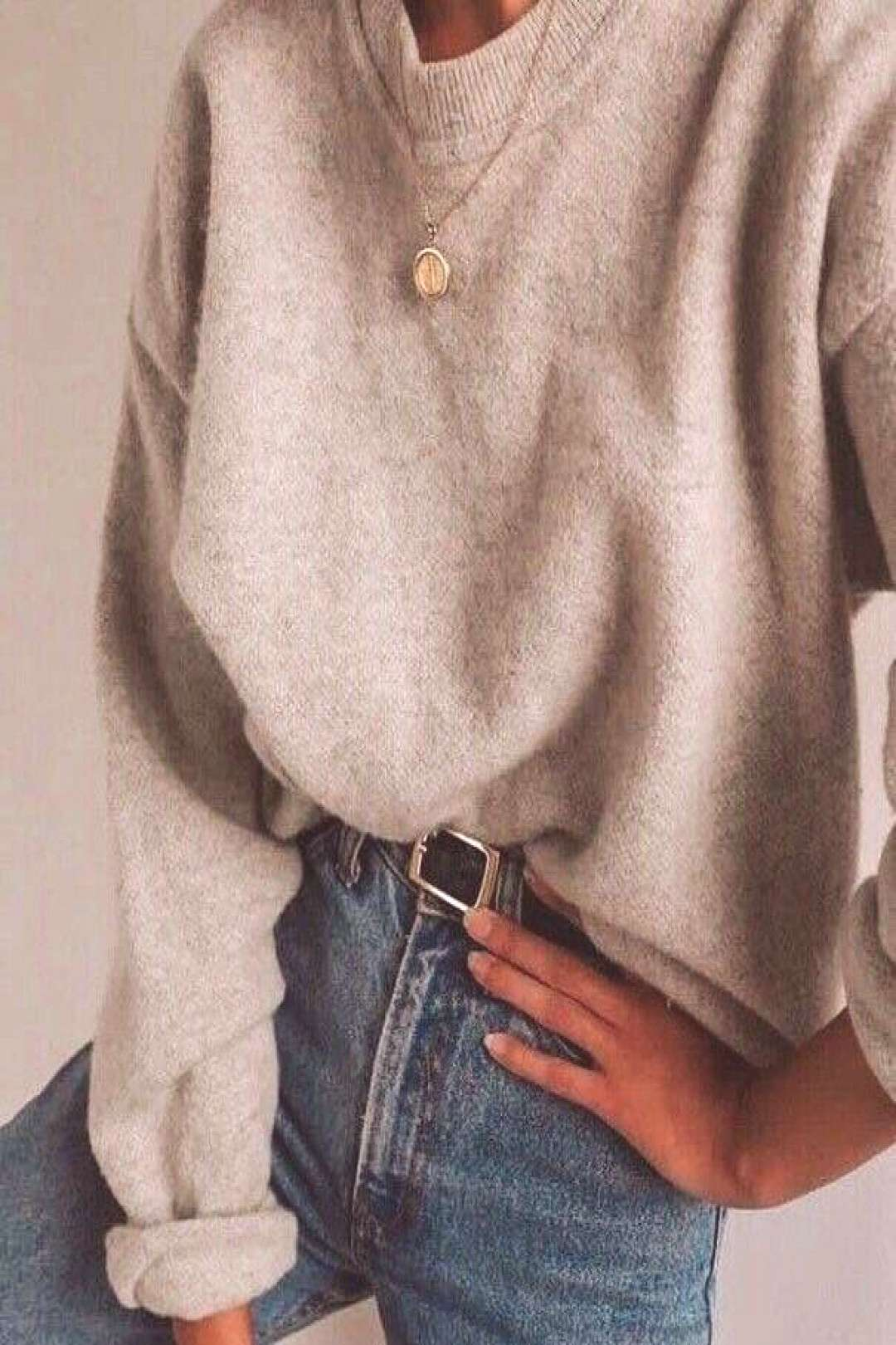 Jeans, belt, beige sweater, simple necklace, casual fall and winter outfit, scho... - Cute outfits