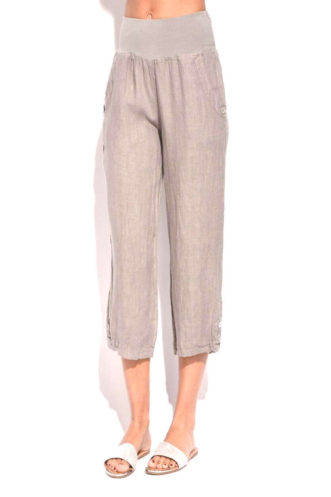 Linen Trousers Size 8 Cropped Ladies Womens Beige Pants With Pockets