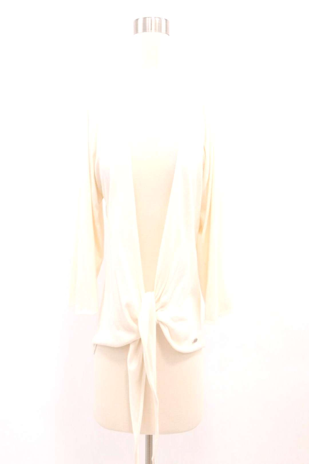 Marc O'Polo Cardigan Sweater Womens M Front Tie Knot Ivory White Cotton Silk