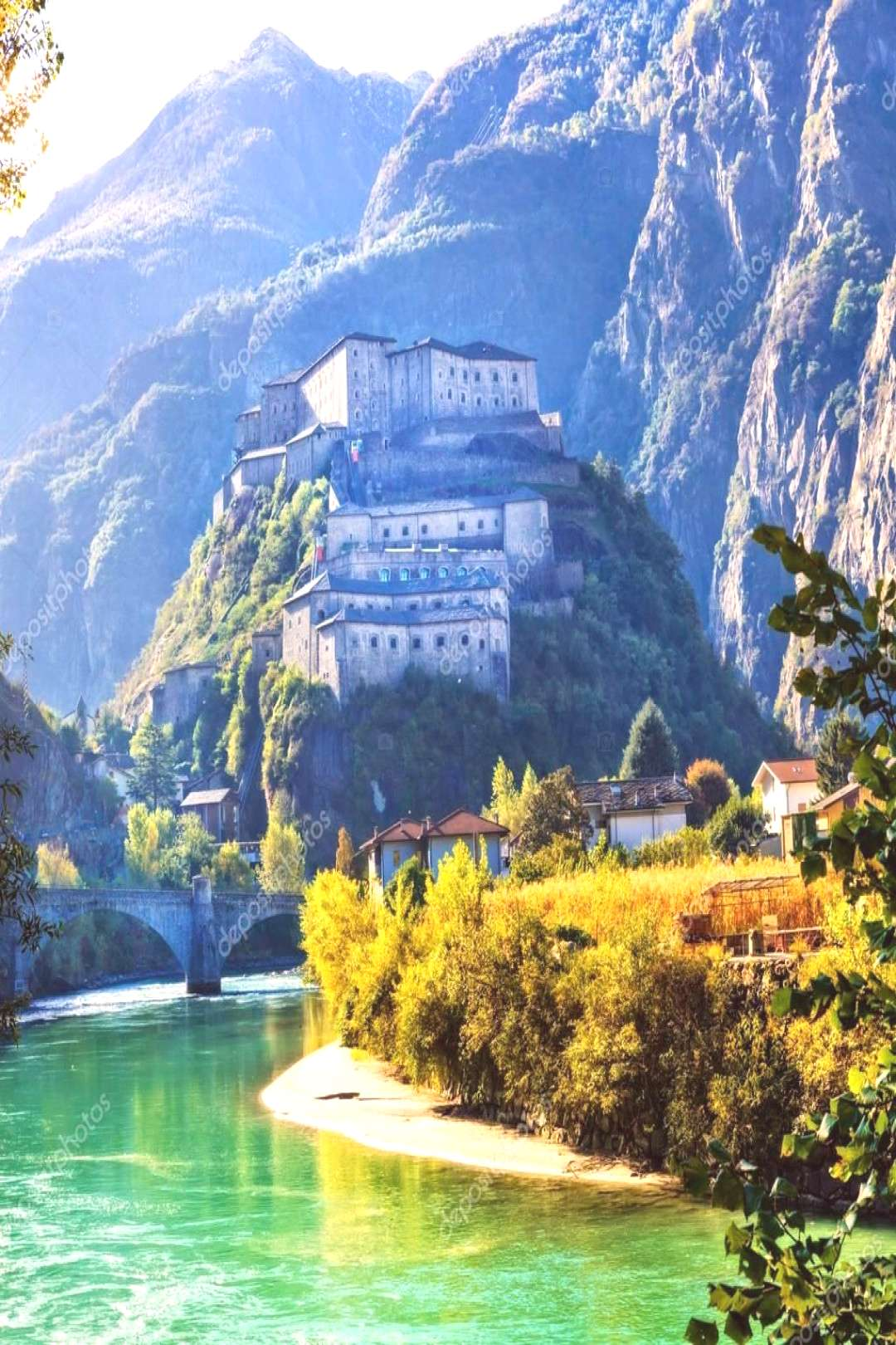 Medieval castles of Italy - Bard fortress in Valle dAosta - Stock P ,
