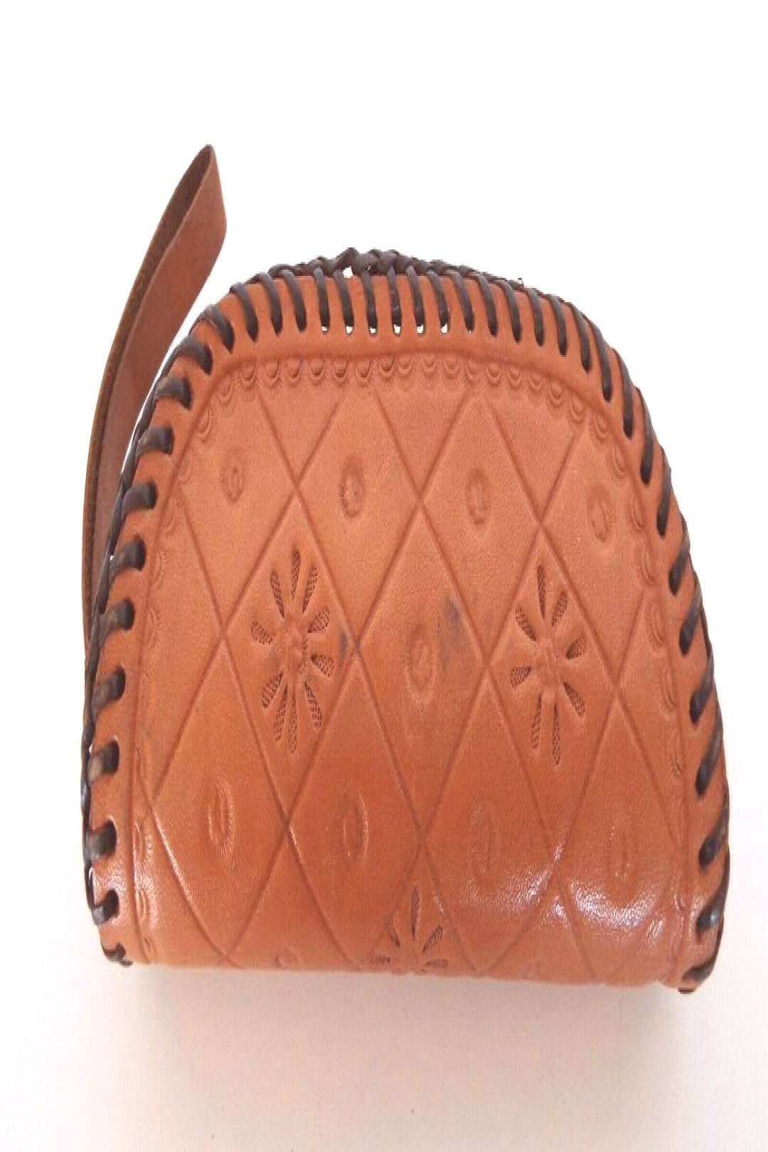 Stamped Leather Wristlet Clutch Laced Edges Coin Purse Rockabilly Lot B