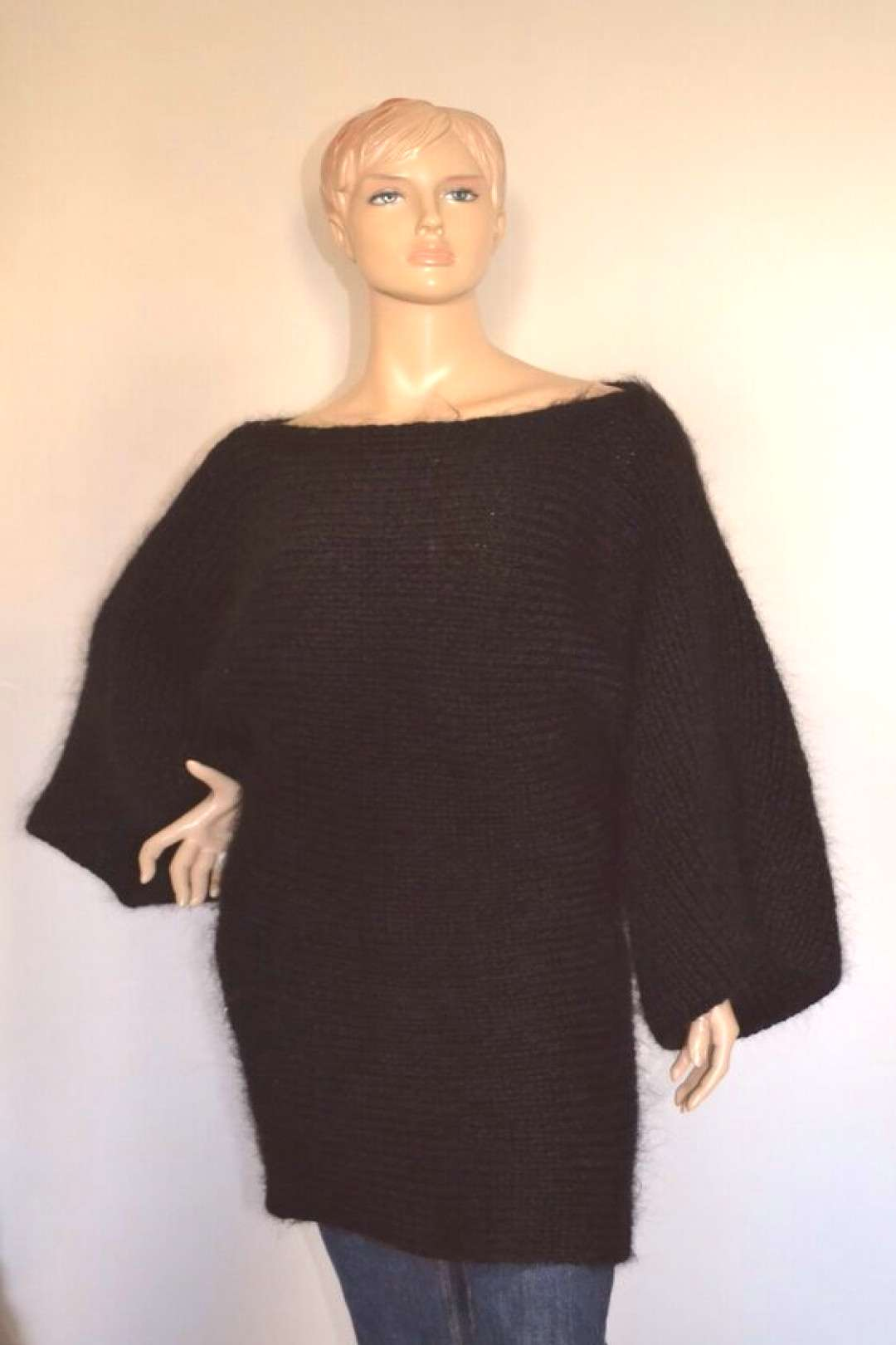 Thick mohair and soft wool dress Black L