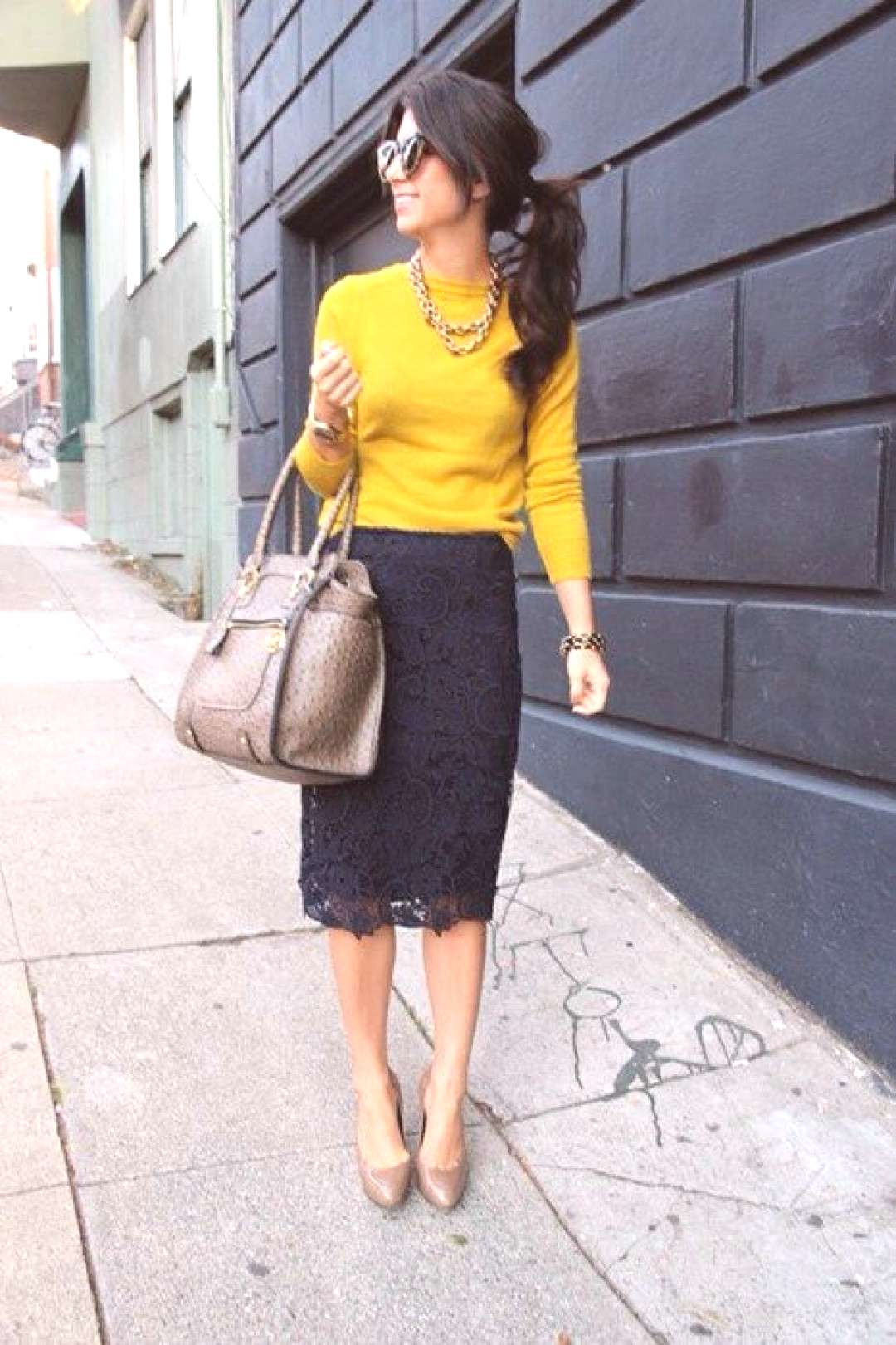 This is a good example of a winter business casual outfit that incoorporates col... -