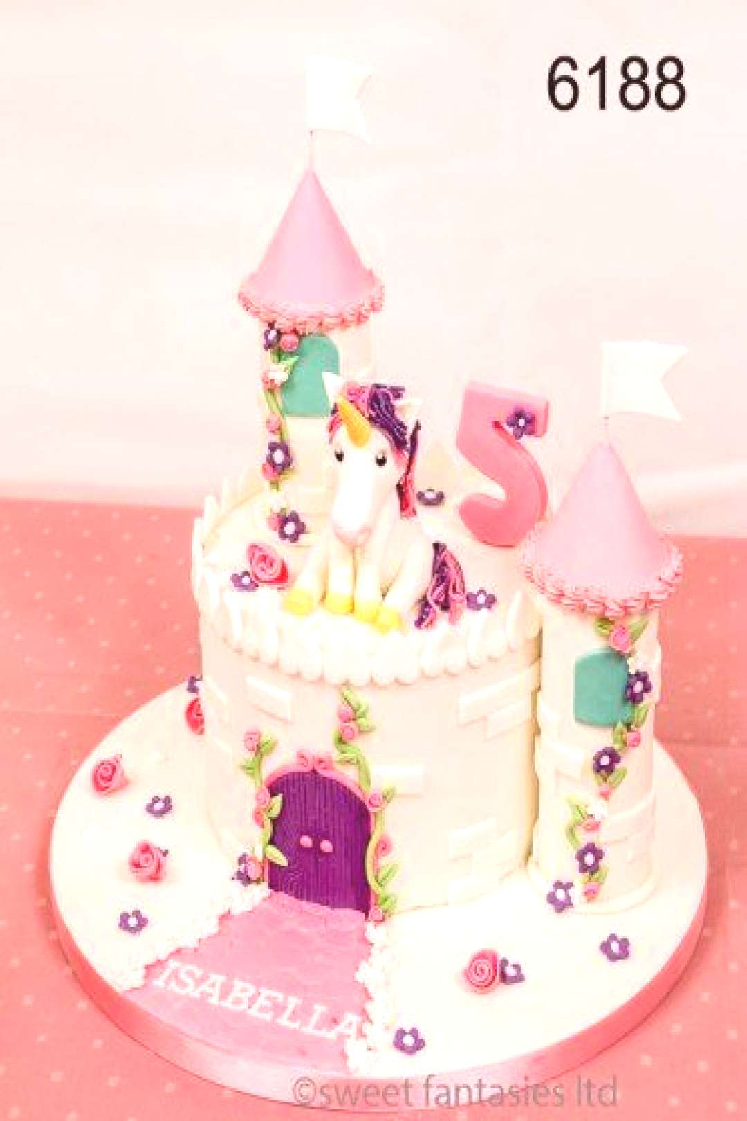 Unicorn Castle 5th Birthday Cake. Cake No. 6188