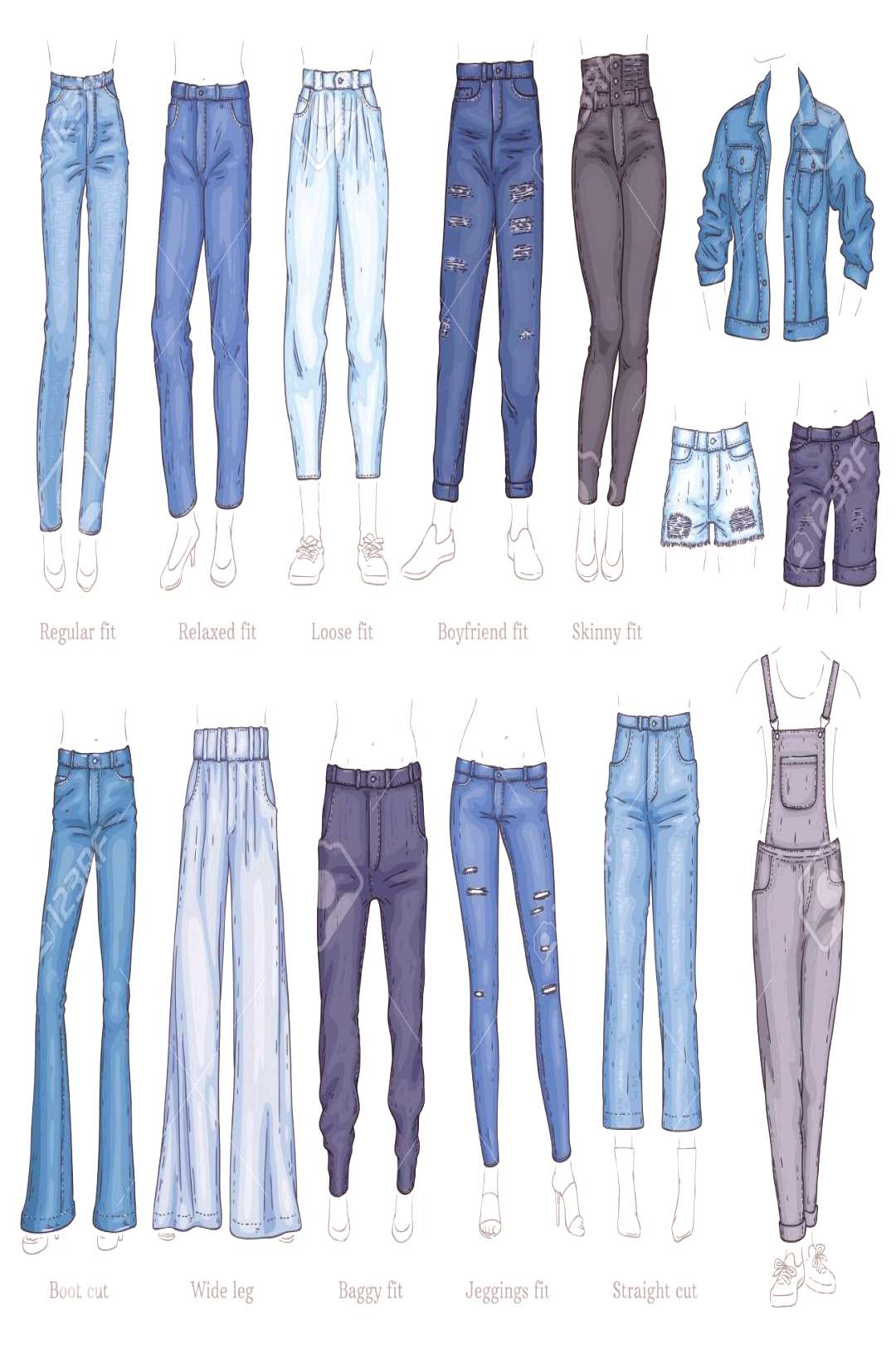 Vector denim female pants, shorts and jacket sketch icon set. Casual fashion tro...,